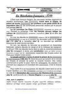 La Révolution française L'État royal manque d'argent De mauvaises récoltes aggravent la