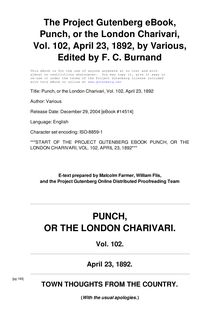 Punch, or the London Charivari, Volume 102, April 23, 1892