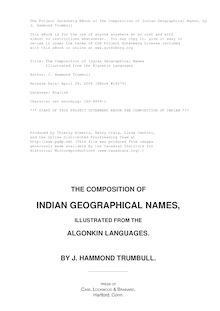 The Composition of Indian Geographical Names - Illustrated from the Algonkin Languages