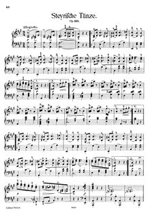 Partition Transcription pour piano solo, Steyrische Tänze, Op.165