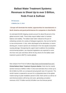 Ballast Water Treatment Systems: Revenues to Shoot Up to over 3 Billion, finds Frost & Sullivan