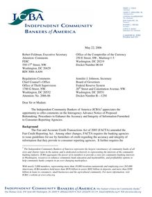 Public Comment ANPR FACTA Independent Community Bankers of America