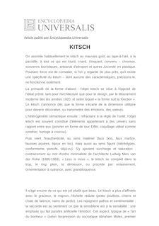 Définition et synonyme de : KITSCH - JEAN-PIERRE KELLER