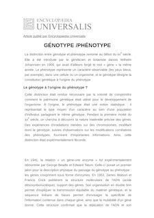 Définition de : GÉNOTYPE /PHÉNOTYPE - Thomas HEAMS