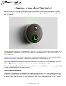 5 Advantages of Using a Smart Video Doorbell