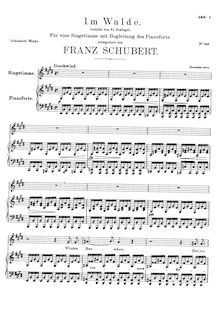 Partition complète, Waldesnacht, In the Forest, Schubert, Franz