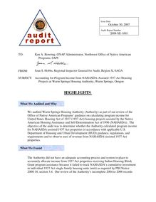 Final Audit Report Dated 10-30-07