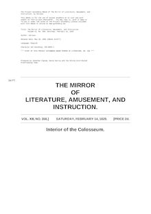 The Mirror of Literature, Amusement, and Instruction - Volume 13, No. 356, February 14, 1829