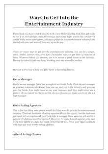 Ways to Get Into the Entertainment Industry