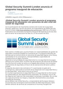 Global Security Summit London anuncia el programa inaugural de educación