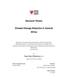 Climate change detection in Central Africa [Elektronische Ressource] / by Nana Takyi Wilberforce