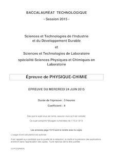 Bac 2015 - Physique-Chimie - STI2D