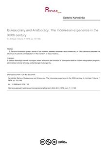 Bureaucracy and Aristocracy. The Indonesian experience in the XlXth century - article ; n°1 ; vol.7, pg 151-168