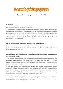 Brevet Français 2016 - Série générale - Corrigé