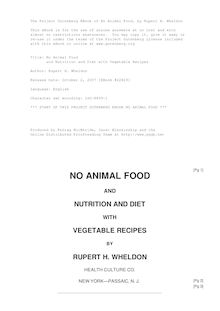 No Animal Food - and Nutrition and Diet with Vegetable Recipes