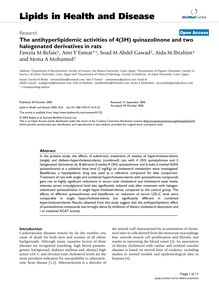 The antihyperlipidemic activities of 4(3H) quinazolinone and two halogenated derivatives in rats