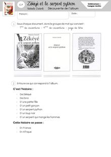 Littérature / Lecture CP – Zékéyé et le serpent Python (Mise à Jour) - Dossier Zékéyé