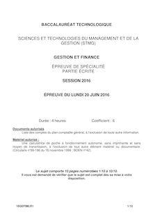 Baccalauréat Gestion et Finances - Série STMG