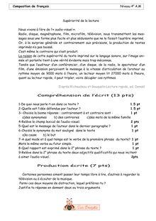 Composition de français Niveau 4e