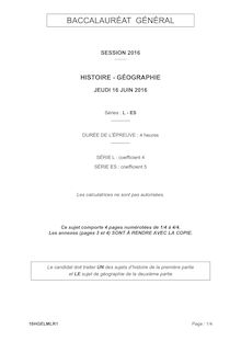 Baccalauréat Histoire-Géographie 2016 - Série L-ES