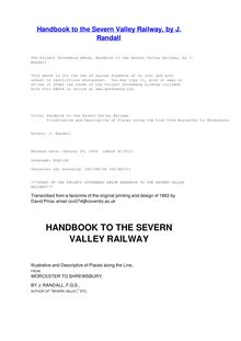 Handbook to the Severn Valley Railway - Illustrative and Descriptive of Places along the Line from Worcester to Shrewsbury