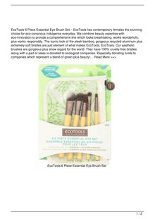 EcoTools 6 Piece Essential Eye Brush Set Beauty Review