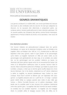 Définition de : GENRES DRAMATIQUES - Elsa MARPEAU