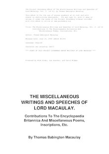Miscellaneous Writings and Speeches — Volume 3