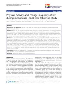 Physical activity and change in quality of life during menopause -an 8-year follow-up study