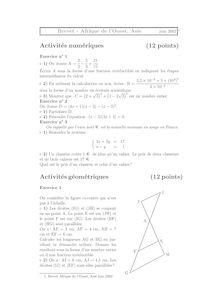 Brevet 2002 mathematiques afrique de l'ouest asie