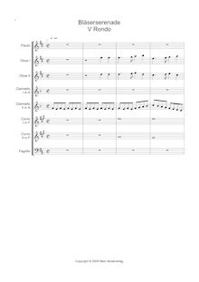Partition , Rondo, Serenade pour vent Section, Serenade for 8 Wind Instruments