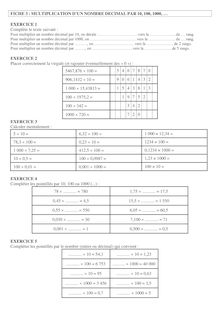 Exercices sur la multiplication par dizaine ou centaine