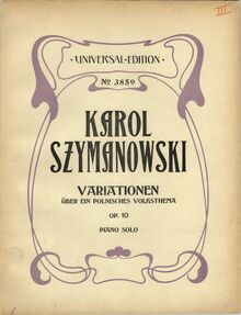 Partition couverture couleur, Variations on a Polish Folk Theme, Op.10