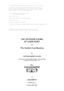 The Outdoor Chums at Cabin Point - or The Golden Cup Mystery