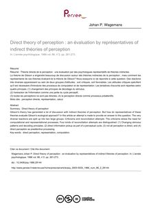 Direct theory of perception : an évaluation by représentatives of indirect théories of perception - article ; n°2 ; vol.86, pg 261-273