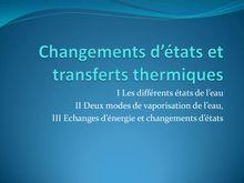 Changement d'états et transferts thermiques - Physique 5e