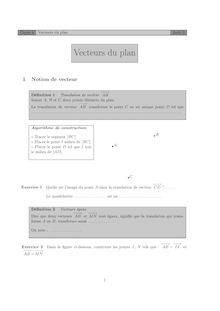 Chapitre sur les vecteurs Cours 4