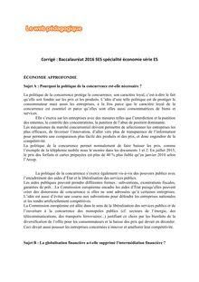 Baccalauréat SES 2016 - Série ES, spécialité économie