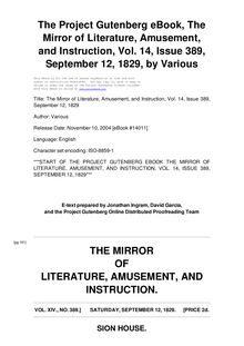 The Mirror of Literature, Amusement, and Instruction - Volume 14, No. 389, September 12, 1829