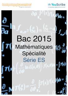 Corrigé - Bac 2015 - Maths - ES - Spécialité