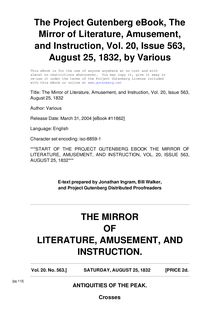 The Mirror of Literature, Amusement, and Instruction - Volume 20, No. 563, August 25, 1832