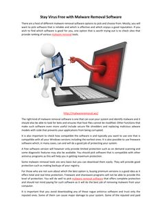 Stay Virus Free with Malware Removal Software
