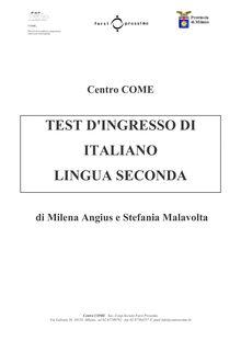 Test d'ingresso italiano lingua seconda - Apprendre l'italien en ligne