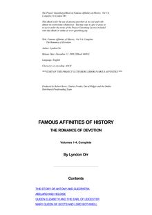 Famous Affinities of History, Vol 1-4, Complete - The Romance of Devotion