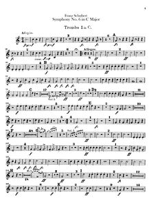 "Partition trompette 1, 2 (C), Symphony No.6, sometimes called the ""Little"" C major symphony"