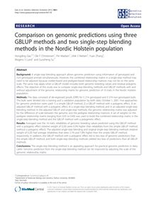 Comparison on genomic predictions using three GBLUP methods and two single-step blending methods in the Nordic Holstein population