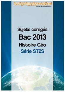 bac 2013 corrigé histoire-géo série ST2S