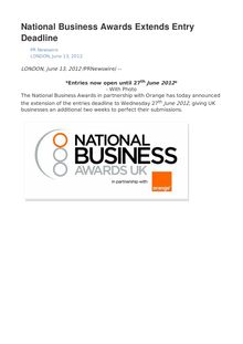 National Business Awards Extends Entry Deadline