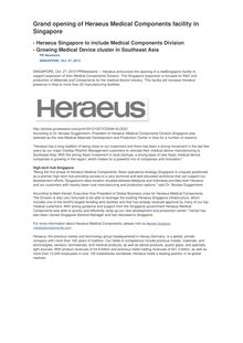 Grand opening of Heraeus Medical Components facility in Singapore