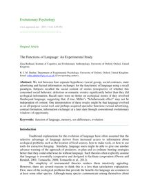 The functions of language: An experimental study